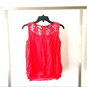 New Directions| Ruby Sleeveless Lace Tank Blouse